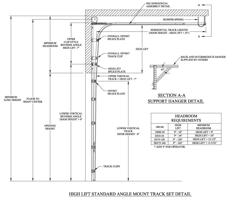 Low Headroom Garage Door Track Specs